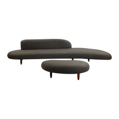 Kidney Bean Modern Sofa and Ottoman 2-Piece Set, Charcoal Cashmere