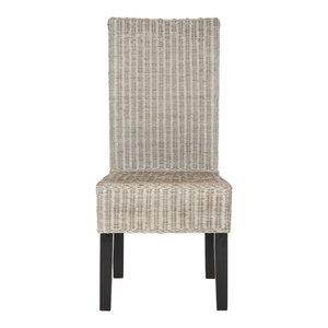 Avita Wicker Dining Chairs, Set of 2, Antique Gray