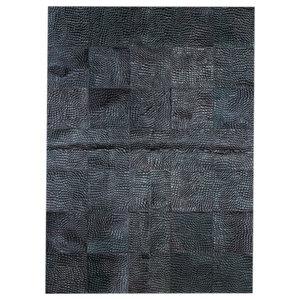 Patchwork Leather Cubed Cowhide Croco Rug, Black, 200x300 Cm
