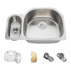 Offset Double Bowl Stainless Steel Sink, 16-Gauge, Wide Right, Ensemble
