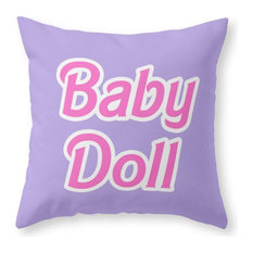 """Barbie Baby Doll Throw Pillow Cover, 16""""x16"""" With Pillow Insert"""