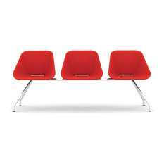 Red Bench, White Leatherette, Matte Chrome Base