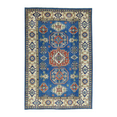 "Hand-Knotted Pure Wool Kazak Geometric Design Oriental Rug, 5'10""x8'9"""