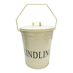 Fire Vida Kindling Bucket With Lid, Cream