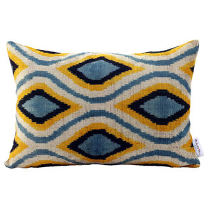 Aqua Velvet Ogee Cushion Cover, 35x60 cm