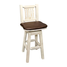 Montana Log Wood Barstool With Back And Swivel In Clear Lacquer MWHCBSWSNRVSADD