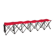 Portable Sports Bench, Sits 6 People, Red