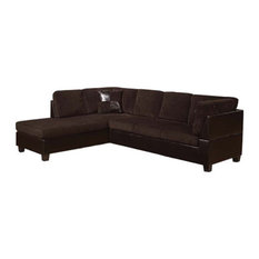 Acme Furniture - Connell Sectional Sofa With 2 Pillows Chocolate Corduroy and Espresso Pu -  sc 1 st  Houzz : corduroy sectionals - Sectionals, Sofas & Couches