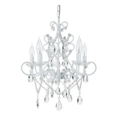 Theresa 5-Light Wrought Iron Crystal Chandelier, White