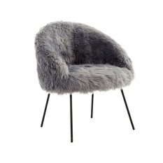 MOD   Quinn Faux Fur Accent Chair, Gray   Armchairs And Accent Chairs
