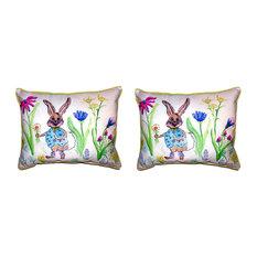 Pair of Betsy Drake Happy Bunny Small Pillows 11X 14