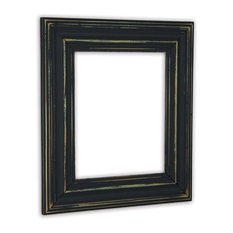 "Wide Distressed Black Picture Frame, Solid Wood, 20""x24"""