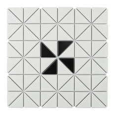 """10.75""""x10.75"""" Tri Windmill Porcelain Floor and Wall Tile, Matte White With Black"""