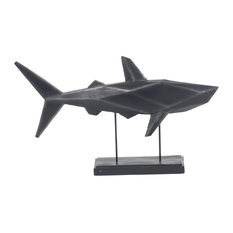 Beach Style Iron and Resin Faceted Shark Sculpture