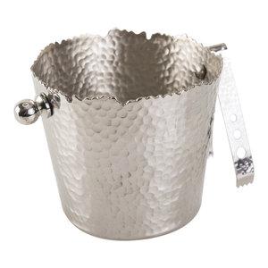 Hammered Aluminium Ice Bucket With Tongs