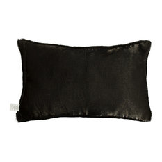 "Natural 100% Sheepskin Nelson Pillow, Black, 12""x20"""