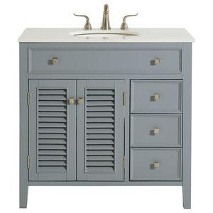 "36"" Single Bathroom Vanity Set, Gray"