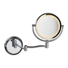 Holmes Swing-Arm LED Magnifier Mirror, Polished Chrome
