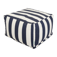 "Outdoor Vertical Stripe Large Ottoman, Navy Blue, 27""x27""x17"""