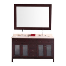 "Design Element DEC302A Venetian 60"" Double Sink Vanity Set, Espresso"