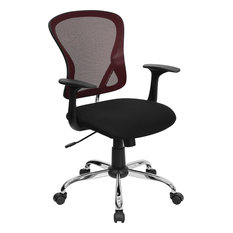 Flash Furniture   Flash Furniture Mid Back Burgundy Mesh Office Chair With  Black Fabric Seat