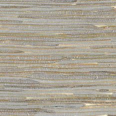 Metallic Silver and Off-White Wide Java Grass Grasscloth Wallpaper