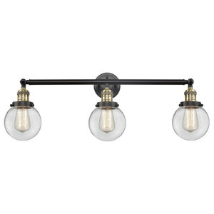 3-Light Bath Light Black Antique Brass With LED Vintage Bulbs