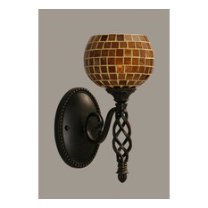 Toltec Company 161-DG-402 One Light Dark Granite Mosaic Glass Bathroom Sconce