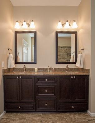 Ronbow Transitional Solid Wood Framed Bathroom Mirror American Walnut 24x33 37350