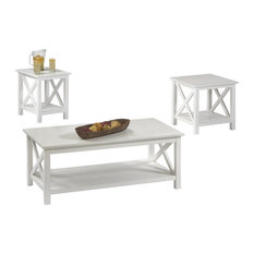 Progressive Seascape I 3-Piece Coffee Table Set, Textured White