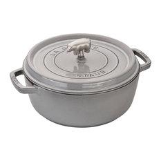 Staub Cast Iron 6-qt Cochon Shallow Wide Round Cocotte, Graphite Gray