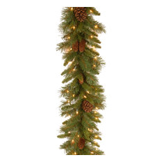 9' Pine Cone Garland With Clear Lights