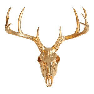 Faux Resin Deer Skull Wall Mount, Gold
