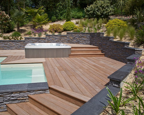 terrasse en bois exotique cumaru avec piscine et jacuzzi. Black Bedroom Furniture Sets. Home Design Ideas