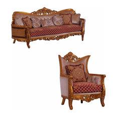 European Furniture - Modigliani 2 Piece Luxury Sofa Set In Red And Gold - 31058-