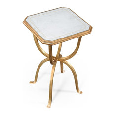 JONATHAN CHARLES LUXE Side Table Contemporary Octagonal Small Silver