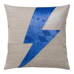Ulysse Lighting Bolt Scatter Cushion, Blue and Beige