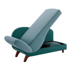 Bailey Two-Tone Dark and Light Functional Chaise With 1 Pillow, Green