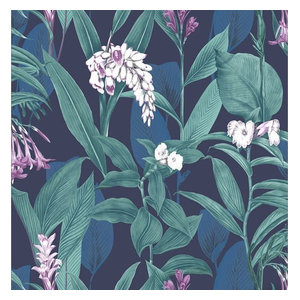 Botanical Floral Wallpaper, Midnight, A4 Sample