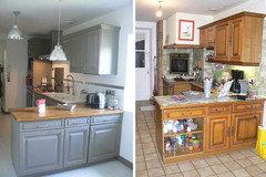 Aidez moi moderniser cette cuisine rustique - Repeindre sa cuisine avant apres ...