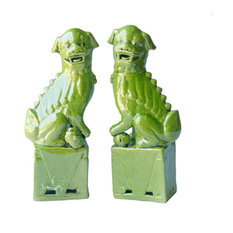 Sitting Foo Dog Bookends, Set of 2, Lime Green, Large