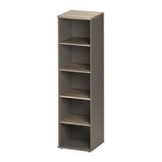 Jazz Slim 4-Shelf Bookcase, Grey Oak Finish