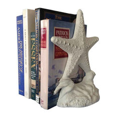 Cast Iron Starfish Book Ends Rustic, Whitewashed, Set of 2, 11""