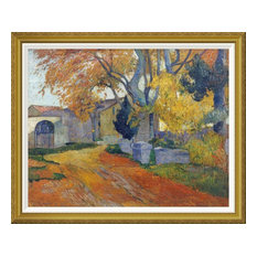 """L'Allee Des Alyscamps"" Framed Canvas Giclee by Paul Gauguin, 42x34"""