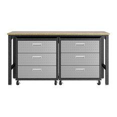Manhattan Comfort 3-Piece Cabinet And Worktable 6.0 In Grey 19GMC