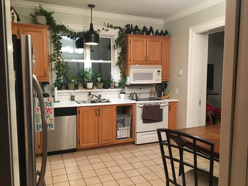 Dated kitchen, wood cabinets. Go big or keep it simple for ...