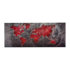 Red/Pewter Land & Sea, World Map Wall Art, Giclee on Metal