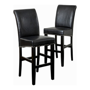 GDF Studio Clifton Leather Bar Stools, Black, Set of 2