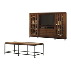 2 Piece Living Room Set with Entertainment Center and Rectangle Cocktail Table