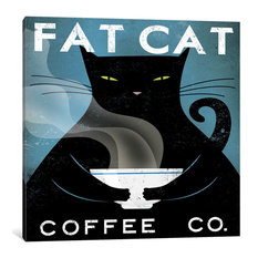 """Cat Coffee no City Gallery"" by Ryan Fowler, 18x18x0.75"""